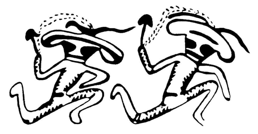 Saharan rock art depicting two dancers carrying psilocybin mushrooms