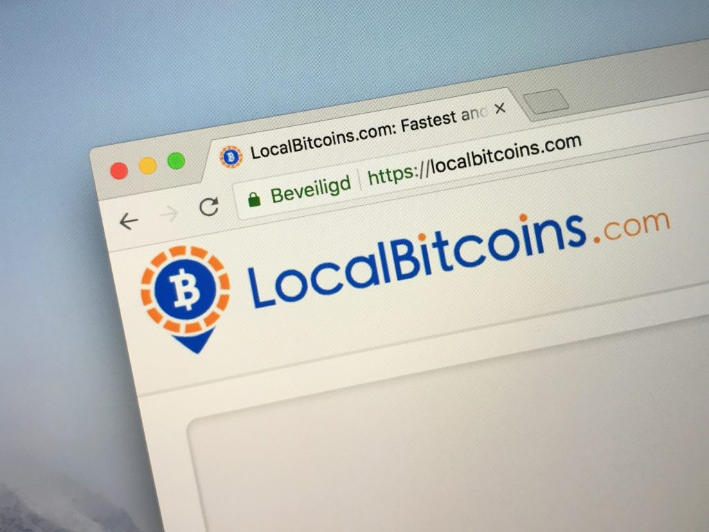 A web browser showing the LocalBitcoins website.