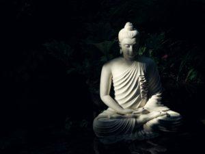 Buddha statue in a dark setting